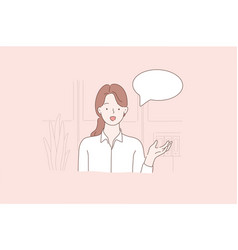 young beautiful woman or clerk holds a webinar vector image
