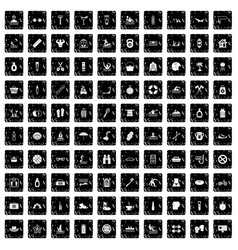 100 human health icons set grunge style vector