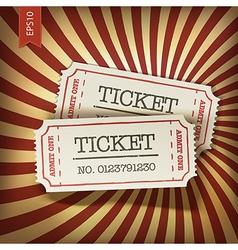 cinema tickets on retro rays background vector image vector image