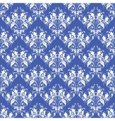 damask seamless on blue background vector image