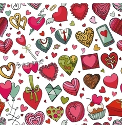 Hearts hand drawing doodleseamless patternColored vector image vector image