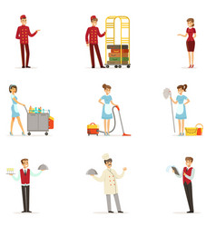 staff in the hotel set for label design vector image