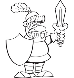 Cartoon knight holding a sword and a shield vector image