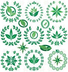 Set ecofriendly laurel wreath vector image
