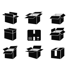 shipping box icons vector image vector image