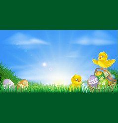 yellow easter chicks and eggs background vector image vector image