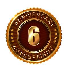 6 years anniversary golden brown label vector image vector image