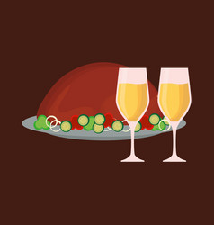 champagne and roasted turkey vector image vector image