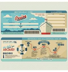 Cruise ship boarding pass design template vector