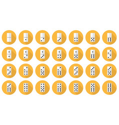 double-six dominoes flat icon set vector image vector image
