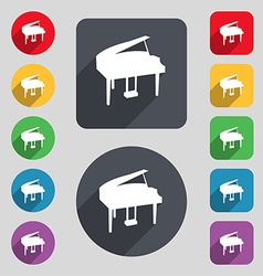 Grand piano icon sign a set of 12 colored buttons vector