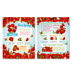 Posters of spring time red flowers field vector