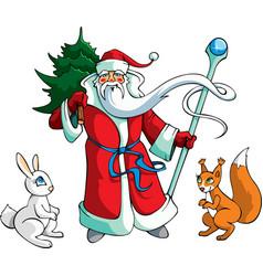 Santa Claus with animals vector image vector image