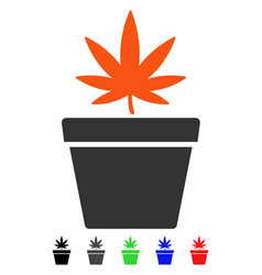 Cannabis pot flat icon vector