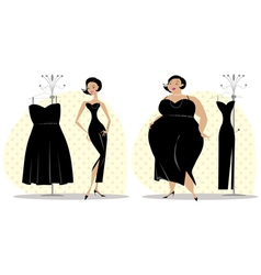 Dieting lady fitting a dress vector image vector image
