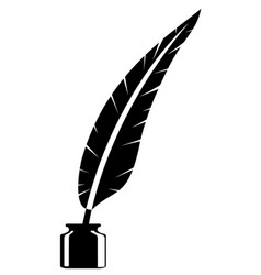 feather and inkwell old retro vintage icon stock vector image