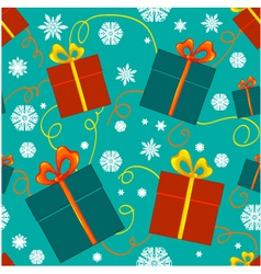 Seamless pattern with christmas gifts vector image vector image