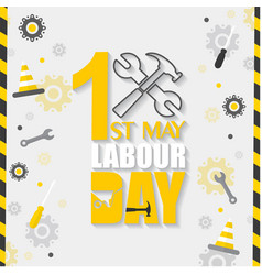 1st may labor day hammer wrench background vector