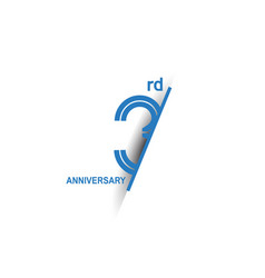 3 anniversary blue cut style isolated on white vector