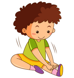 a boy stretch on white background vector image