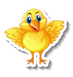 A sticker template with baby chicken cartoon vector
