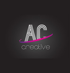 Ac a c letter logo with lines design and purple vector