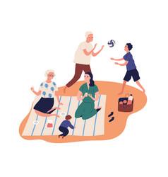 Active grandparents spend time with grandchildren vector