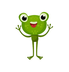 adorable frog with cheerful face expression vector image