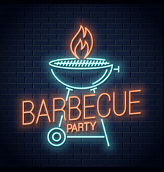 barbecue grill neon logo bbq with flame neon vector image