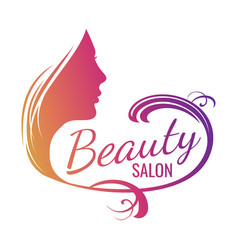 Beautiful female face portrait - beauty salon vector