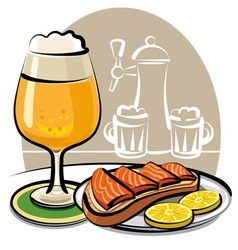 Beer and sandwich with salmon vector