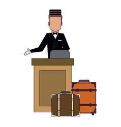 Bellboy with luggage vector