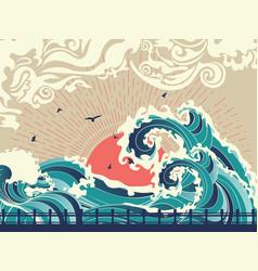big sea waves sunset vector image