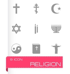 Black religion icons set vector