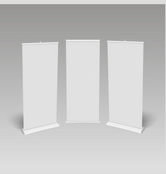 Blank roll-up banner display vector