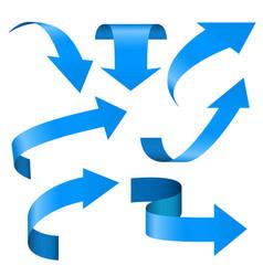 blue arrows set 3d web icons vector image