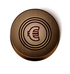 Brown line coin money with euro symbol icon vector