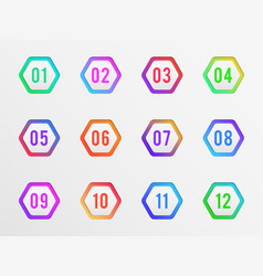 Bullet points colorful label number pointing vector