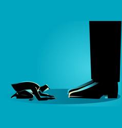 businessman kneel down under giant feet vector image