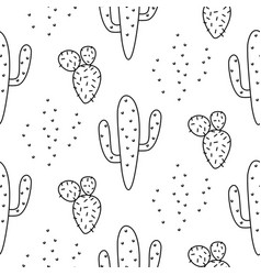cactus simple line coloring style pattern vector image