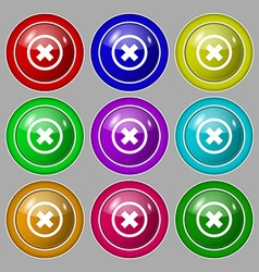 Cancel icon no sign Symbol on nine round colourful vector image