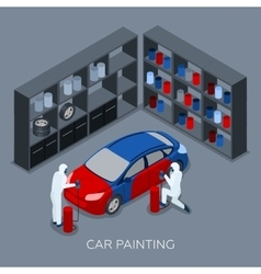 Car Painting Autoservice Isometric Banner vector