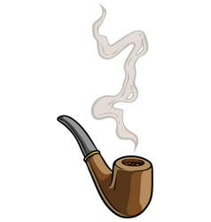 cartoon tobacco pipe with smoke vector image
