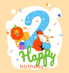 children 2nd birthday greeting card vector image