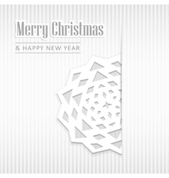 Christmas greeting card with paper snowflake vector image