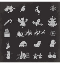 Christmas isolated icons on a dark background vector image