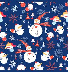 Christmas pattern with snowmen vector