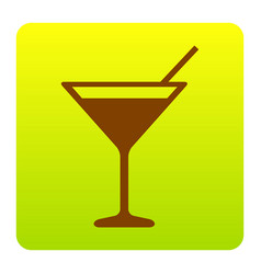 cocktail sign brown icon at vector image