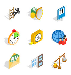 Contribute icons set isometric style vector