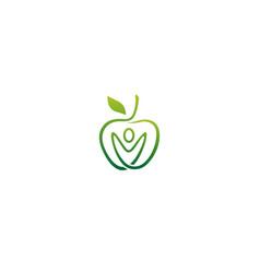 Creative green apple fruit human body logo vector